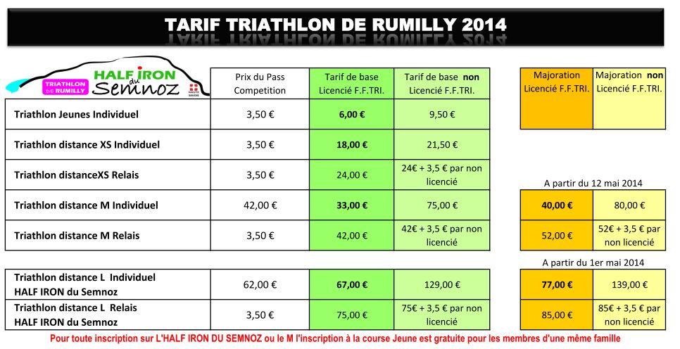 Tarif Triathlon de Rumilly 2014